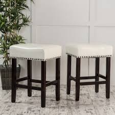 noble house lonnie backless ivory leather counter stool set of 2 com