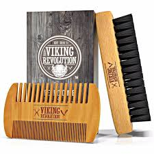 viking revolution beard comb beard brush set for men natural boar bristle