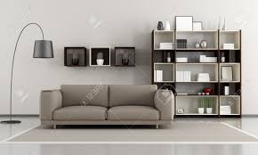 Living Room Bookcase Contemporary Livingroom Sofa And Bookcase Rendering Stock Photo