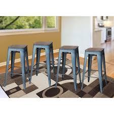 set of 4 bar stools. Stackable Gunmetal Bar Stool With Dark Elm Wood Top ( Set Of 4 Stools L