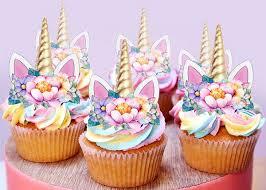 12 Stand Up Mini Unicorn Gold Horn Ears Edible Fairy Cupcake Cake