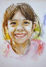watercolor painting children faces
