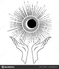Krásná Ruční Kreslení Ruka Drží Hvězdu Pozadí Vesmíru Vektorové