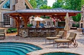 Outdoor Kitchen Designs With Pool Awesome Decoration