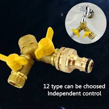 2 way garden hose splitter y ball valve connector outdoor faucet sprinkler drip irrigation system cod