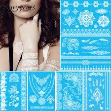 1 лист временные татуировки белый цветок ювелирные изделия цепи тела