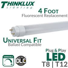 led tube light t8 t12 universal ballast compatible plug and thinklux led fluorescent replacement tube 4 foot 18 watt universal t8 or t12 plug and play ballast compatible dimmable dlc qualified