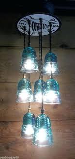 glass insulator lights glass insulator pendant light fixture public telephone steampunk 7 green lights antique glass insulators pendant lighting