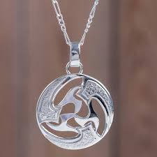modern abstract andean silver pendant necklace universe in motion