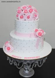 Roses Flowers Bouquet Theme Customized 2 Layer Designer Fondant Cake