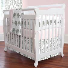 elegant pink and gray elephants mini crib bedding elephant crib bedding