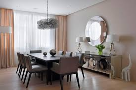 contemporary dining room wall decor. Attractive Round Wall Decor Mirrors With Chromed Dining Room Modern Contemporary R