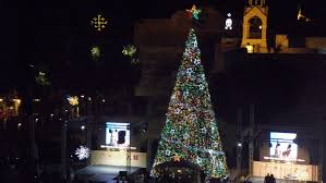 bethlehem lighting christmas trees. Thousands Gathered At Manger Square In Bethlehem On Saturday To Watch The Lighting Of Christmas Trees