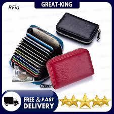 great king genuine leather business organizer rfid credit card holder cow minimalist women travel card