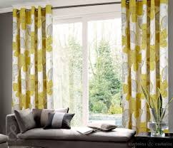 grommet top yellow and gray fl curtain in living room