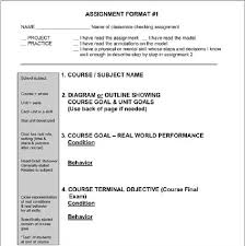 Blank Assignment Form Showing Criterion Checklist Download
