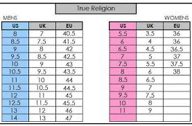 True Religion Size Chart True Religion Shoe Size Chart Best Picture Of Chart