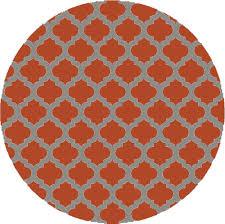 round orange and grey ikat rug for minimalist living room decor idea