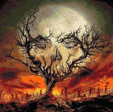 <b>Halloween</b> Moon <b>Counted Cross</b> Stitch - <b>Halloween</b> Skull inspired ...