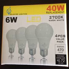 Typical Light Bulb Wattage A 19 Led Light Bulb 6w Replacement For 40 Watt Standard Bulb Non Dimmable Package Of Four 4 Bulbs