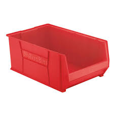 akro mils super size akrobin 18 3 in 300 lbs storage tote bin in red with 22 gal storage capacity