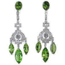 fine peridot diamond platinum chandelier earrings for