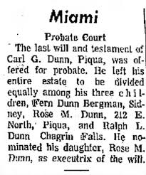 Probate of Last Will of Carl G. Dunn - Newspapers.com