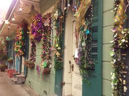all dolled up in purple green and gold mardi gras decor in new