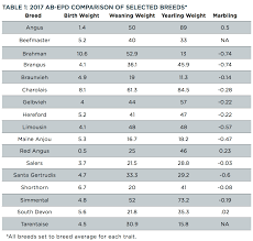 Cattle Birth Weight Chart How To Compare Epds Across Breeds