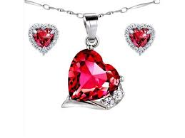 mabella lovely heart cut created ruby pendant earring set sterling silver 18