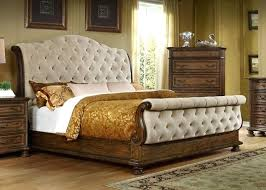 Pecan Furniture Bedroom Traditional Button Tufted Sleigh King Bed In A Pecan  Finish Pecan Bedroom Furniture Solid Wood