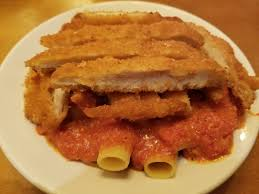portion of rigatoni but the full size amount of five cheese marinara and a double full portion of cri en fritta another quirky order but our