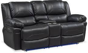 living room furniture monza dual power reclining loveseat with console black