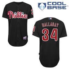 34 Black Philadelphia Majestic Halladay Phillies Jersey Roy Men's - Authentic Mlb