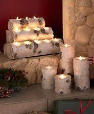 White Birch Log Wood Look Woodland Tealight Candle Holder Pillars Cabin  Cottage