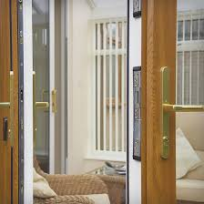 french doors with a wood effect finish high security
