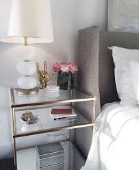 gold and glass nightstand. Side Table Clear Glass With Brass Accents Chic And Feminine White Gold Nightstand Intended