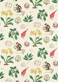capuchins curtain fabric from sanderson voyage of discovery collection a woven curtain fabric featuring large prints of capuchin monkeys parrots