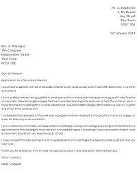 Teacher Cover Letter Sample Secondary Teacher Cover Letter Example Icover Org Uk