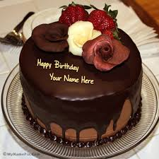 Write Your Name On Chocolate Birthday Cake With Rose Picture