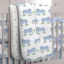blue painted elephants crib bedding