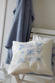 Embroidery pattern HERRING - blue,scandinavian,embroidery,pillow ,beach,needlecraft,cushion,fish,swedish embroidery,Anette Eriksson Design