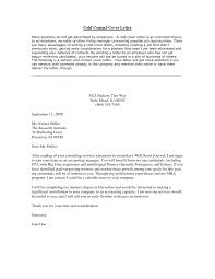 Cover Letter Cold Call Resume Cover Letter Cover Letter For Cold