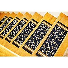 gloria rug skid resistant rubber backing gripper non slip carpet stair treads washable stair mat area rug set of 7 8 5 x 26 navy blue fl design