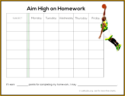 Homework Chart Template For Teachers 4 Homework Chart Template Fabtemplatez