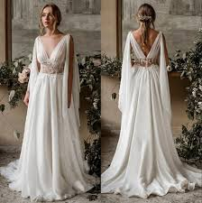 Discount <b>Elegant</b> V Neck Chiffon <b>Boho A Line</b> Wedding Dresses ...