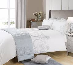 white grey silver colour stylish embroidered duvet cover luxury