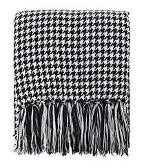 Black And White Houndstooth Throw Blanket