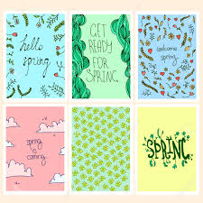 Spring Photo Cards Vector Set Of Spring Cards Quotes And Nature Elements