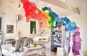 home office colorful girl. Bright Home Office Design With. Fresh Ideas For Decorating Your Walls Colorful Girl #